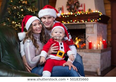 Fiatal srác ölelkezés plüssmaci karácsonyfa fa portré Stock fotó © monkey_business