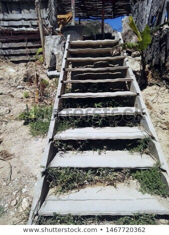 Stock photo: Old wooden stairs outdoors