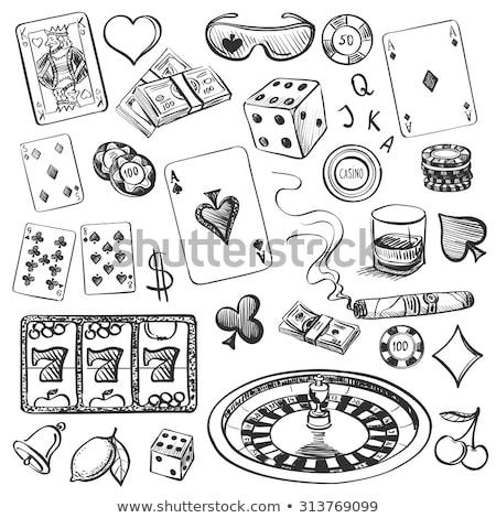 Tabuleiro de xadrez cartas de jogar dados verde jogos jogos de azar Foto stock © mayboro1964