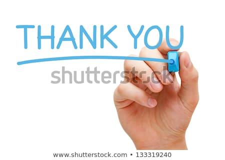 köszönjük · kék · jelző · kéz · ír · átlátszó - stock fotó © ivelin