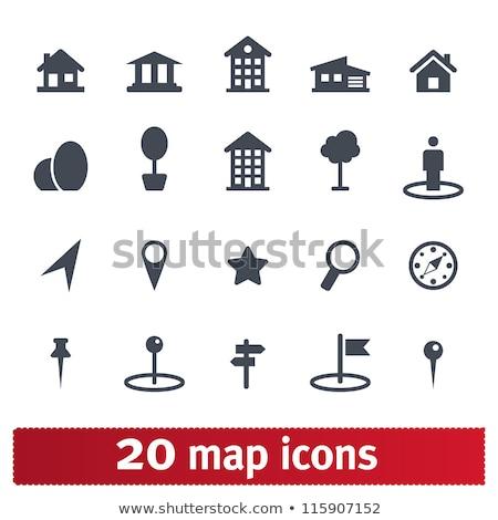 3D · kaart · iconen · ingesteld · straat · reizen - stockfoto © cteconsulting