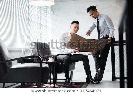 Délkelet ázsiai üzletember teljes alakos karok áll Stock fotó © szefei
