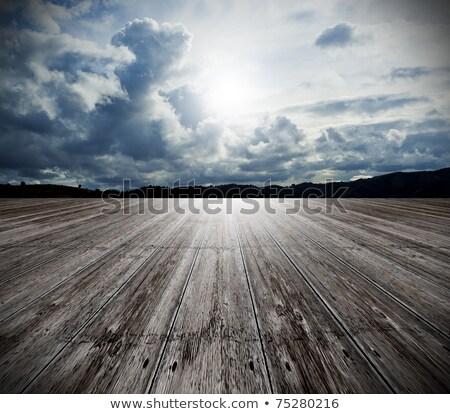 madeira · velha · piso · nublado · céu · abstrato · ver - foto stock © frameangel