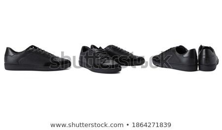 Paire noir fetish chaussures isolé blanche Photo stock © Elisanth