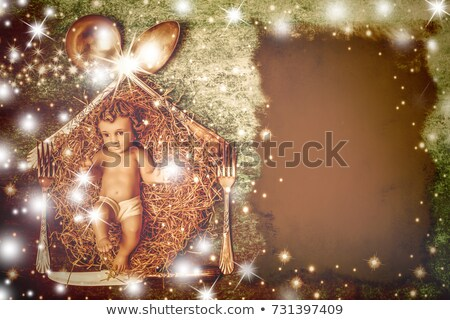 Baby Jesus in rustic kitchen Christmas background Stock photo © marimorena
