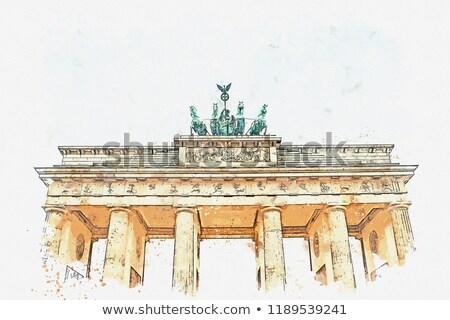 Puerta · de · Brandenburgo · panorama · Berlín · Alemania · manana · pared - foto stock © claudiodivizia