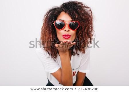 Jovem africano mulher ar beijo belo Foto stock © HASLOO