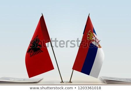 Albania Serbia miniatura banderas aislado blanco Foto stock © tashatuvango