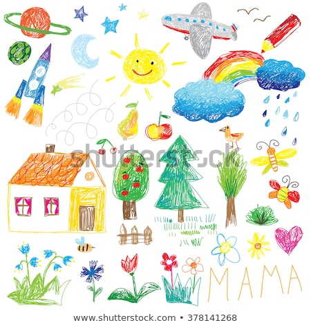 Kid 39 s drawing of a house rainbow and tree vector for House pics for kids