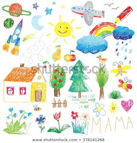 Kinderen tekening huis regenboog boom kinderachtig Stockfoto © zsooofija