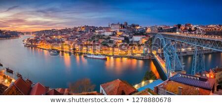 Stockfoto: Panorama · schemering · oude · binnenstad · schemering · Portugal · stad