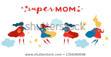 ストックフォト: Supermom Character And Card Vector Design