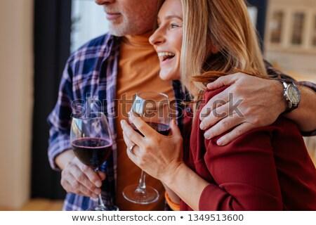 ビジネスマン · 飲料 · ワイン · ホーム · 小さな · 座って - ストックフォト © nyul