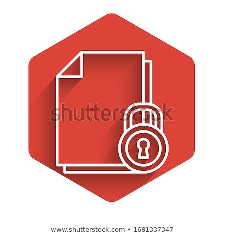 защищенный знак красный вектора икона кнопки Сток-фото © rizwanali3d
