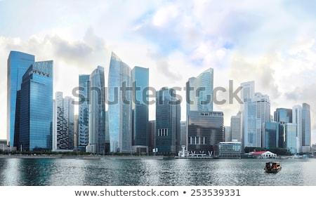 Cingapura centro da cidade núcleo linha do horizonte colorido pôr do sol Foto stock © joyr