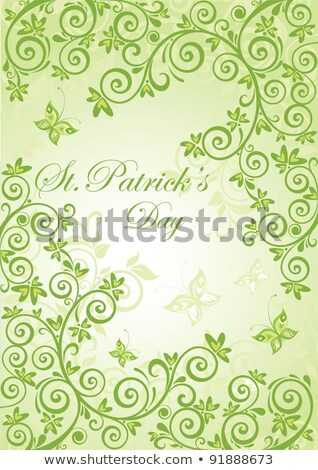 fresh st patricks day poster with paper clover stock photo © voysla