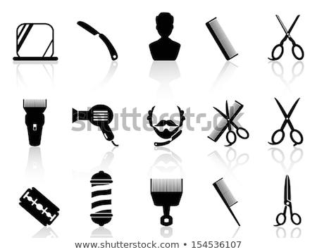 szett · ikonok · egyenes · borotva · fekete · sziluett - stock fotó © konturvid