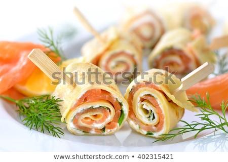 лосося пластина лимона Ломтики таблице Сток-фото © olandsfokus