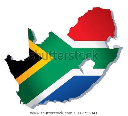 Südafrika Flagge Karte Land Form Stock foto © tony4urban