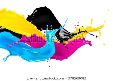 Festék nedves áramló pigment fekete ciánkék Stock fotó © Lightsource