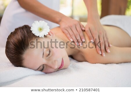 bastante · mujer · masaje · al · aire · libre · spa · salud - foto stock © wavebreak_media