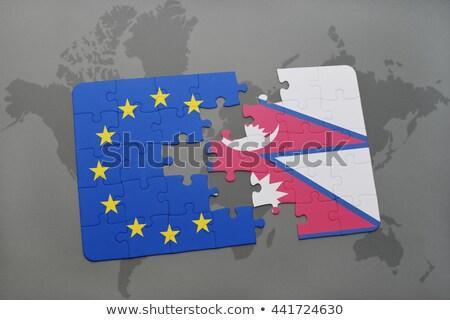 Europeo Unión Nepal banderas rompecabezas aislado Foto stock © Istanbul2009