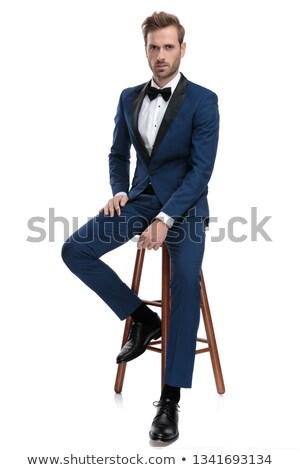 ファッション · 男 · 長い · あごひげ · 座って · 喫煙 - ストックフォト © feedough