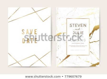 Esküvői meghívó arany fehér illusztráció díszítő keretek Stock fotó © Irisangel