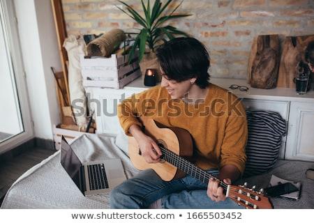 bell'uomo · giocare · chitarra · sorriso · Coppia · bellezza - foto d'archivio © wavebreak_media