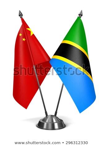 China Tanzania miniatuur vlaggen geïsoleerd witte Stockfoto © tashatuvango