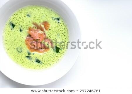 Spenót leves füstölz lazac zöld fehér tányér Stock fotó © master1305