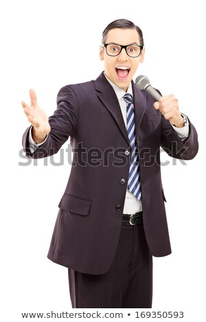 El siyah takım elbise mikrofon yalıtılmış beyaz Stok fotoğraf © GeniusKp