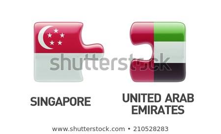 Emirados Árabes Unidos Cingapura bandeiras quebra-cabeça isolado branco Foto stock © Istanbul2009