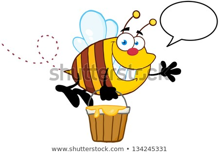 Cartoon Flying Bee With Honey Bucket Waving Hand Stok fotoğraf © HitToon