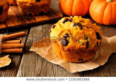 pumpkin chip muffins on a table stock photo © rojoimages