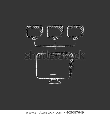 Group of monitors icon drawn in chalk. Stock photo © RAStudio