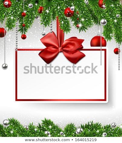 zöld · fenyő · ág · piros · díszítések · karácsony - stock fotó © wad