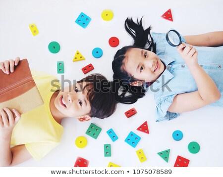 Kettő gyerekek hazugság padló arc haj Stock fotó © Paha_L