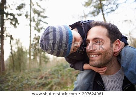apa · gyermek · vállak · tél · arc · férfi - stock fotó © Paha_L