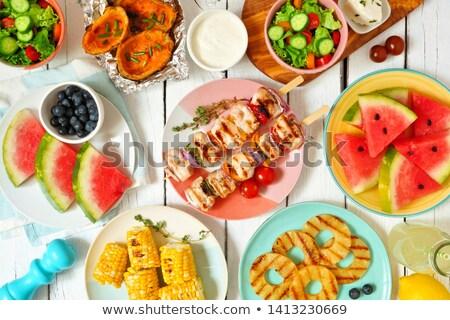 sağlıklı · taze · meyve · piknik · masası · tanıtım · renkli · yaz - stok fotoğraf © ozgur