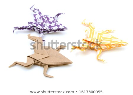 Group of various Origami frog Stock photo © cienpies