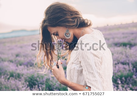 beautiful · girl · cheiro · lavanda · flores · foto · roxo - foto stock © anna_om
