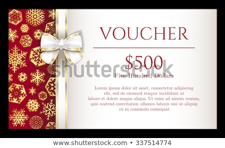 luxury red christmas voucher with golden snowflakes and white ribbon stock photo © liliwhite