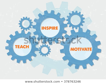 Teach Inspire Motivate In Grunge Flat Design Gears Foto stock © marinini