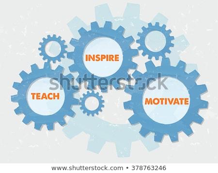 Teach Inspire Motivate In Grunge Flat Design Gears Stockfoto © marinini