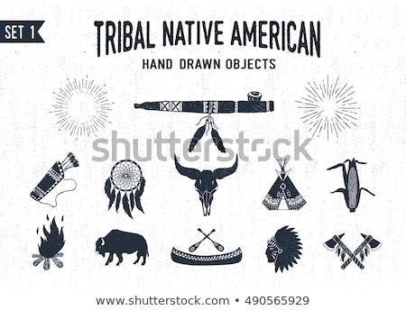 hand drawn indian tomahawk vintage illustration stock photo © trikona