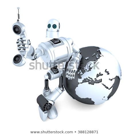 Robot with tablet phone tube and earth globe. Global communication concept. Isolated. Clipping path Stock photo © Kirill_M