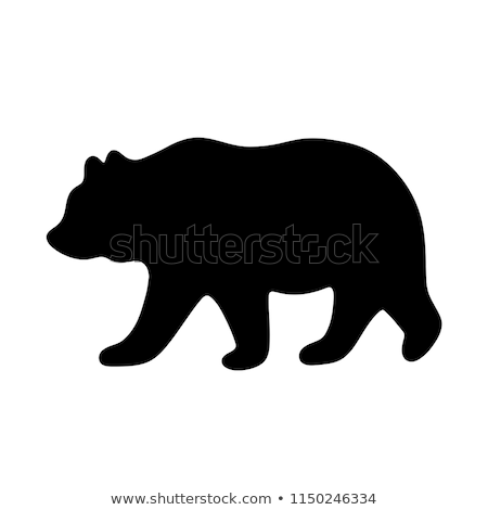 silhouette bear isolated on white background Stock photo © basel101658