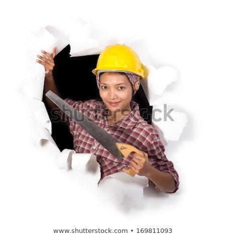Grappig vrouw helm zag witte jonge Stockfoto © vlad_star