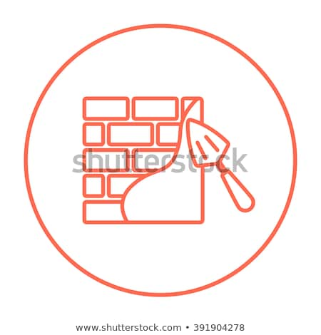 spatula with brickwall line icon stock photo © rastudio